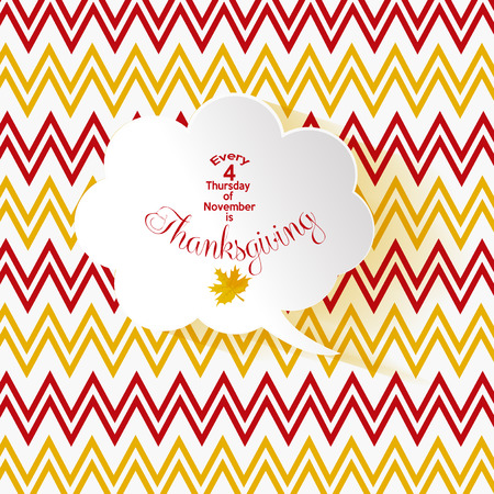 zig zag: thanksgiving text on a white bubble talk and striped background zig zag red and yellow