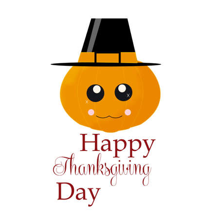 tittle: thanksgiving pumpkin, expression,  with black hat in white color backdrop Illustration