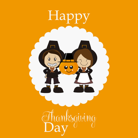 degrade: Thanksgiving pilgrims of expression holding pumpkin on orange degrade