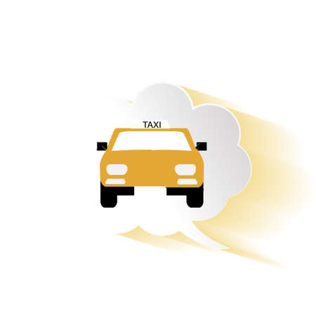 buble: taxi in front on a talk buble, white background Illustration