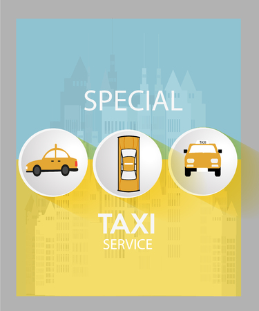 view taxis on three white buttons , yellow poster with blue and gray, white text, city backdrop