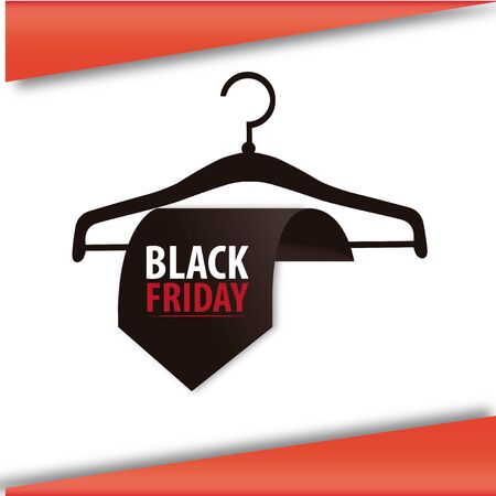 black friday,black clothespin with tie  in white and red backdrop Illustration