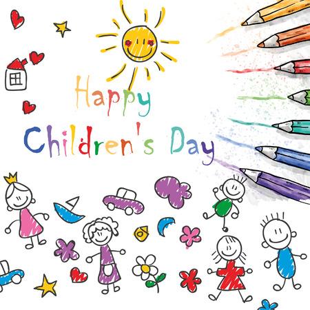 happy children´s day illustrator, doodles, colors pen and kids