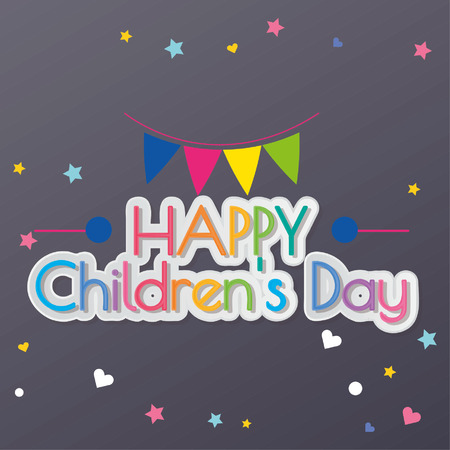 happy children´s day illustrator, text, stars and hearts in blue color backdrop