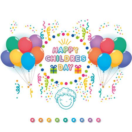 Niños felices del día de ilustrador, globos, niño y el color del texto Foto de archivo - 68034583