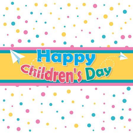 Illustrator des glücklichen Kinder Tages, Text über Kennsatz und weißer Farbhintergrund