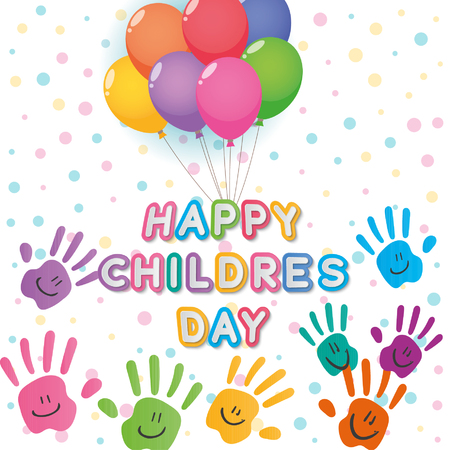 happy children´s day illustrator, text and colors hands over  white color backdrop