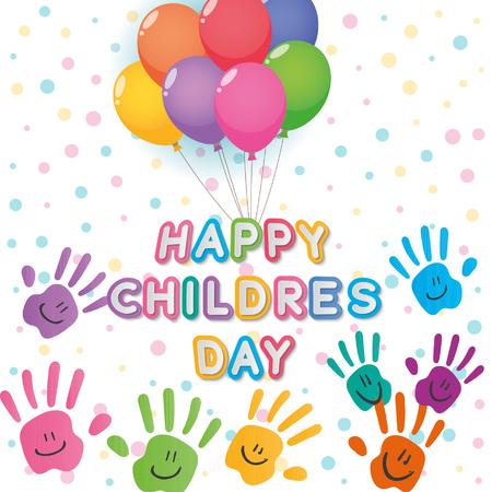 Niños felices del día de ilustrador, texto y colores entrega blanco telón de fondo de color Foto de archivo - 68034597