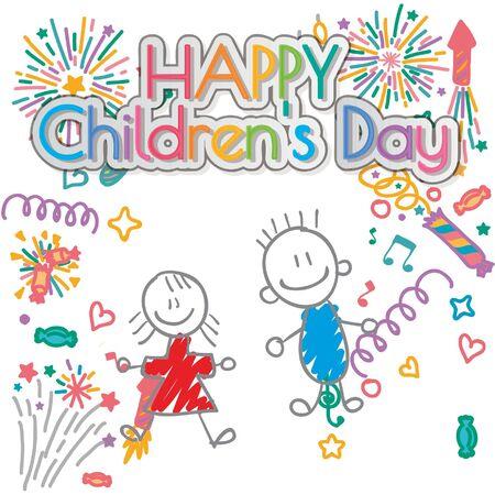 happy children´s day illustrator, girl and boy smile sparkles backdrop