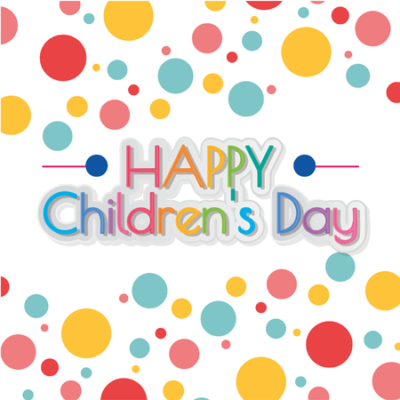happy children´s day illustrator, text and dots colors pattern