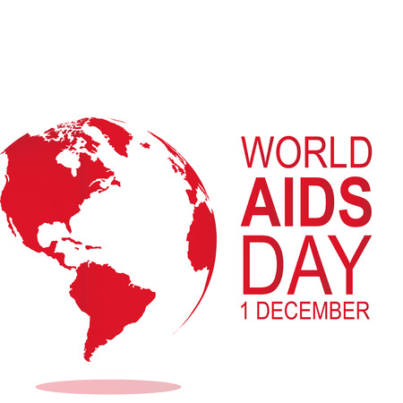 right side: Planet in white and red, text on right side world day AIDS