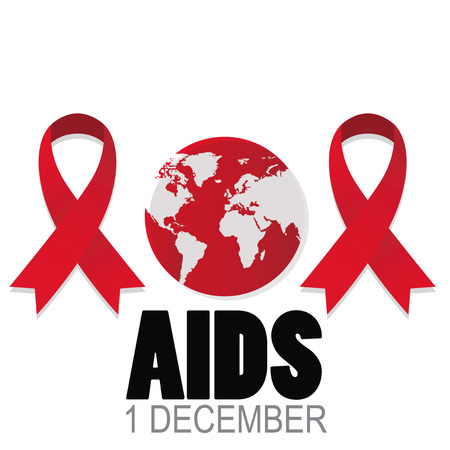 Two red ribbons, planet in the center, world AIDS day Illustration