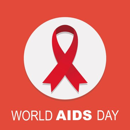 aids awareness ribbon: White circle, background and red ribbon, world wide day poster