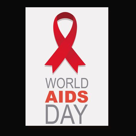 aids virus: White square with black background and red ribbon, gray letter posters