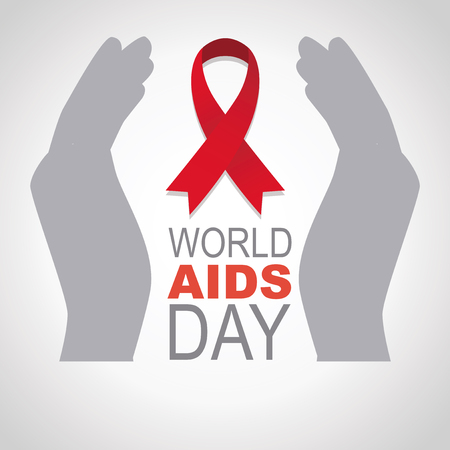 Two gray hands wrap symbol of fight against AIDS