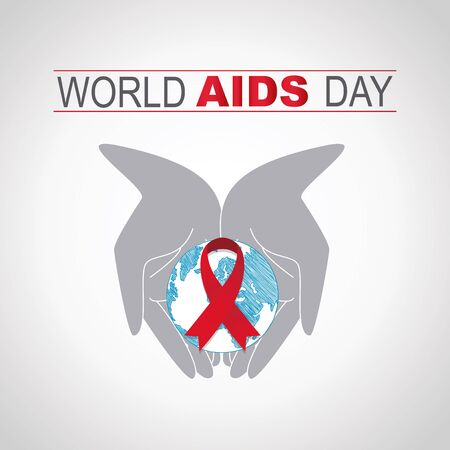aids virus: Two hands hold the planet and red ribbon fight against AIDS Illustration