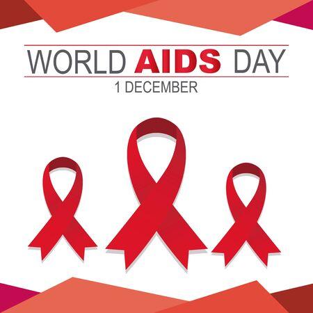 Three ribbons symbol world aids day, red and white background Illusztráció