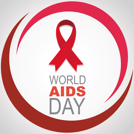 Red ribbon centered, vector, round semicircular lines world day AIDS