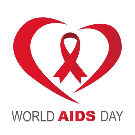 Red ribbon centered, vector, Around line heart shape world day AIDS