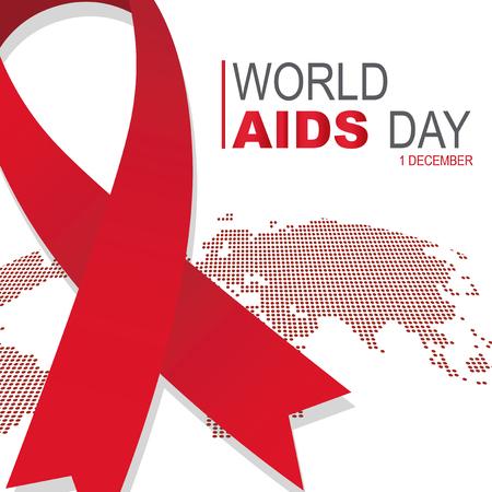 Big red ribbon on world map AIDS day Illusztráció