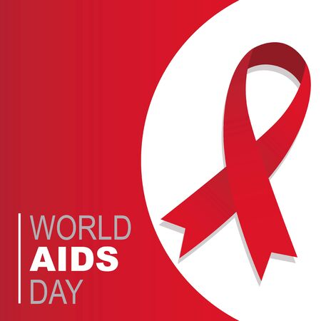 red ribbon vector world aids day in red backdrop