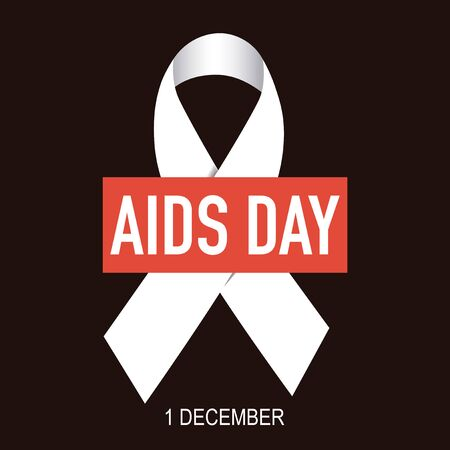 Great white ribbon on black background World AIDS Day