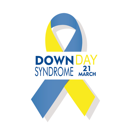 Down syndrome day with large loop illustration over white backdrop