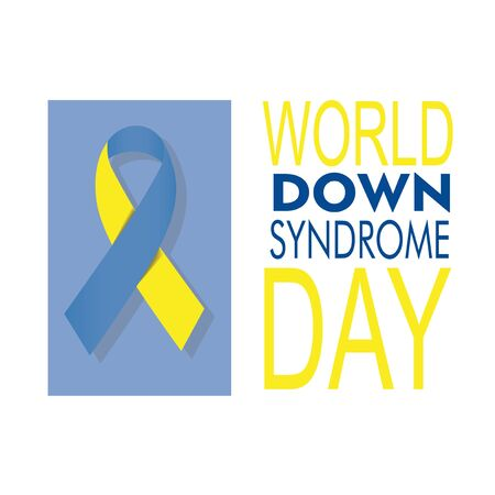 world Down syndrome day with loop illustration over white and blue backdrop Illusztráció