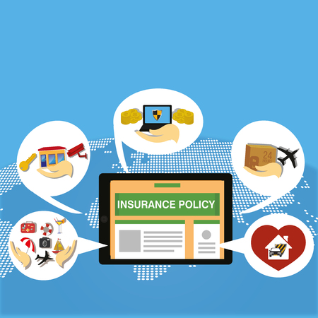 insurance policy: insurance policy service online  worldwide illustration Illustration