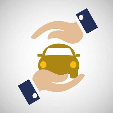 Protection car insurance illustration over degrade color backdrop