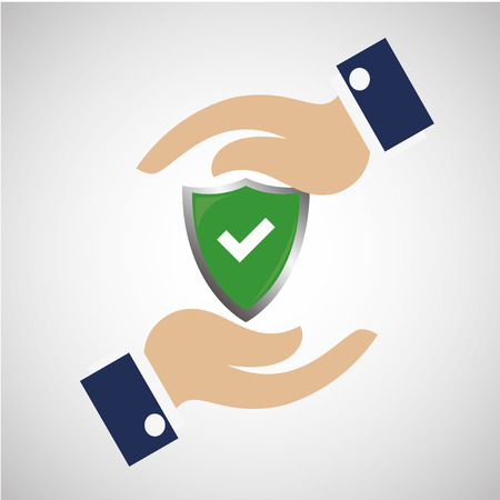 Protection life insurance icon and hands illustration over degrade color backdrop