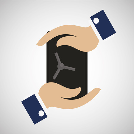 investment insurance, safe icon and hands illustration over degrade color backdrop