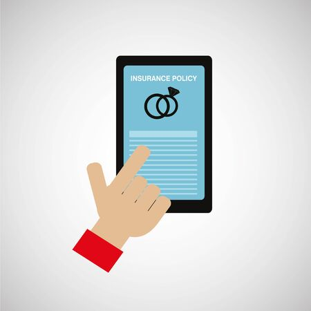 Online marriage security policies, rings icon in cell phone screen with hand