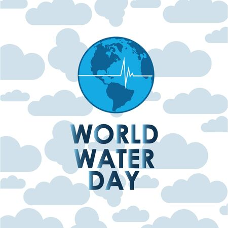 Planet earth with vital line on blue cloud background on world water day