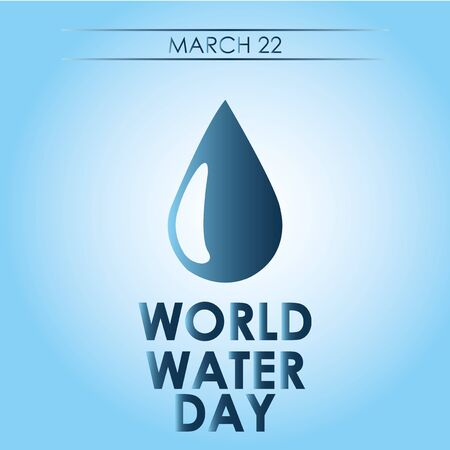 Big water drop blue background on degrade, world water day text
