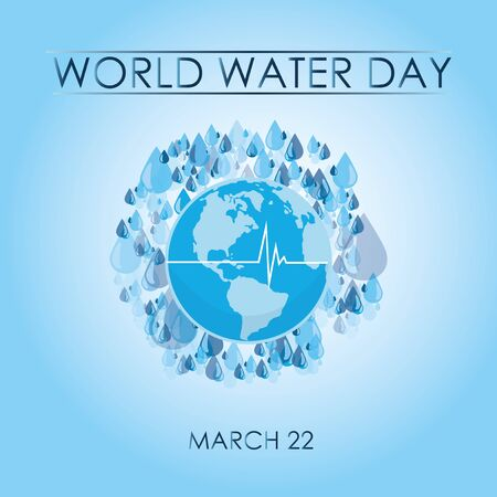 Planet earth surrounded by water drops, illustration world water day Illusztráció