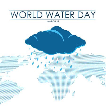 Blue cloud with leaking water falling over continents, water day illustration Illusztráció