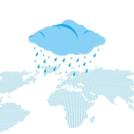 Blue cloud with leaking water falling over continents