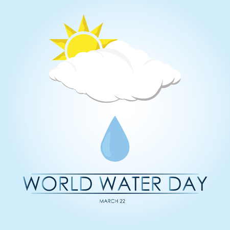 Drop falling from a cloud on blue background world water day