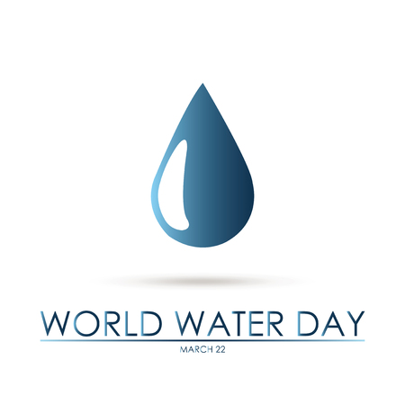 Big water drop over white  background  world water day text
