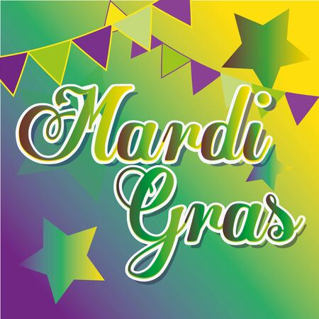 mardi grass: Mardi grass text over stars and strip of flags over colors in degrade