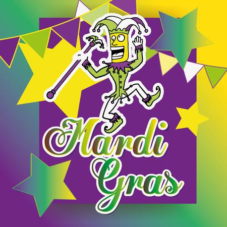 Mardi gras harlequin jumping over text, colors purple, green and yellow on degrade Illusztráció