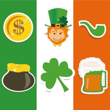 Icons representing saint patrick on background of the irish flag Illusztráció