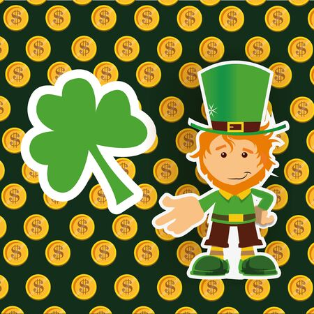 Leprechaun and clover on gold coins background Illustration