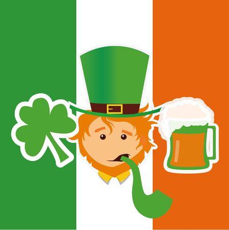 Clover, leprechaun and beer over irish flag Illustration