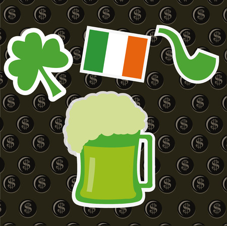 Clover, flag, pipe and beer on coins