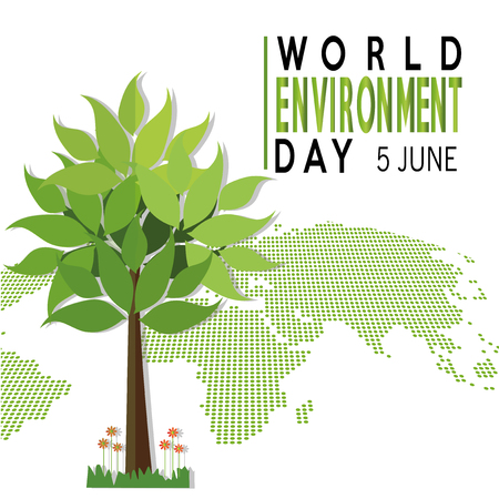 vector illustration of a world environment day with map and three over white backdrop