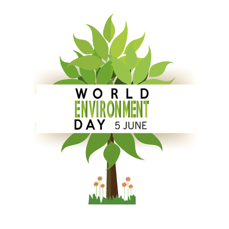 vector of a world environment day, tree and text  over white backdrop