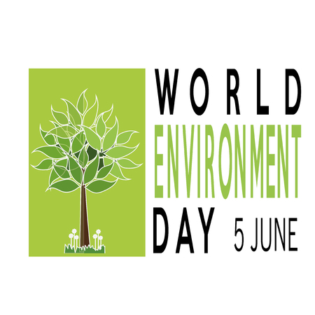 vector of a world environment day, tree over green square and text  over white backdrop