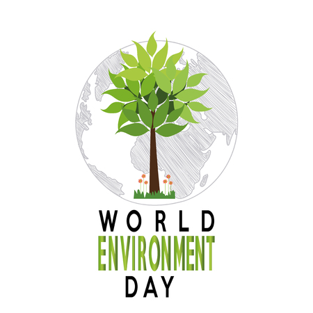 vector of a world environment day, tree over planet and text  over white backdrop Illusztráció